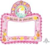 Amscan 'Believe in Unicorns' selfie frame folieballon - 66 x 68 cm