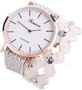 Geneva - horloge met witte wikkelband - bloemen - 35 mm - I-deLuxe verpakking