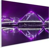 Adembenemende paarse kleuren op de brug en in de lucht boven Dhaka Plexiglas 90x60 cm - Foto print op Glas (Plexiglas wanddecoratie)