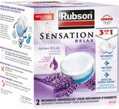 Rubson Sensation Navulling Vochtopnemer Vochtvanger Vochtwering - 2x300g Gram - Lavendel