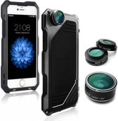 4 in 1 Case Cover Shockproof Dirt-proof + Fish Eye Lens / Wide Lens / Macro Lens voor iPhone SE /5s /5 - Zwart