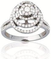 Classics&More - Zilveren Ring Rond met zirkonia