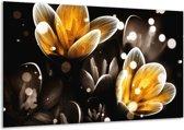 Glasschilderij Bloem   Geel, Zwart   120x70cm 1Luik   Foto print op Glas    F005048