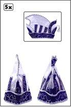 5x Prinsenmuts blauw wit mt 63