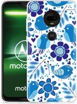 Moto G7 Hoesje Blue Bird and Flowers