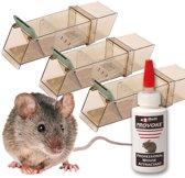 AANBIEDING: 3 stuks Trip Trap diervriendelijke muizenval en 1 stuks Provoke muizenlokmiddel