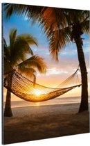 Hangmat op het Caribische strand Aluminium 60x90 cm - Foto print op Aluminium (metaal wanddecoratie)
