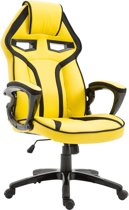 Clp Racing Gaming bureaustoel CHICANE, directiestoel, gaming chair, sport seat, ergonomisch, met kantelmechanisme, met hoogwaardige bekleding van kunstleer - geel,