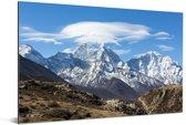 Himalaya-berg in Nepal Aluminium 120x80 cm - Foto print op Aluminium (metaal wanddecoratie)