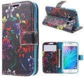 Beautiful Flowers wallet case hoesje Samsung Galaxy J1