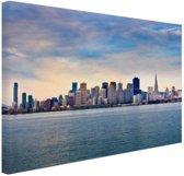 San Francisco skyline Canvas 180x120 cm - Foto print op Canvas schilderij (Wanddecoratie woonkamer / slaapkamer) / Steden Canvas Schilderijen XXL / Groot formaat!