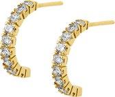 The Jewelry Collection Stekercreolen Zirkonia - Geelgoud