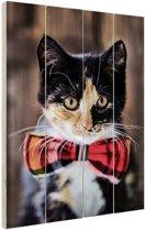 Kat met strikje Hout 60x80 cm - Foto print op Hout (Wanddecoratie)