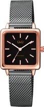 Q&Q vierkant dames horloge Rosé/zwart kleurig QB51J402