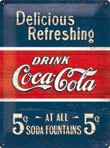 Coca-Cola Delicious reclame wandbord, Reclamebord Amerika USA, Metaal