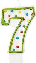 Amscan Verjaardagskaars 7 - Polka Dots 7,6 Cm Groen/wit
