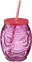 Tiki glazen drinkpotje/drinkglas met deksel 550 ml roze