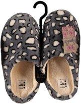 Instap sloffen/pantoffels panter print voor dames - Grijs/witte slippers voor dames 37-38