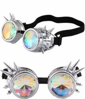 Caleidoscoop bril goggles Steampunk - zilver chroom spikes - diamant