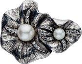 Bloemen broche met steentjes en parels