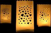 Candle bag 10 stuks hartjes mini
