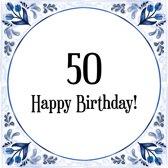 Verjaardag Tegeltje met Spreuk (50 jaar: Happy birthday! 50! + cadeau verpakking & plakhanger