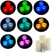 LED Kaarsen Set Met Afstandsbediening - RGB Elektrische Kaars Flakkerend Op Batterij - 3 Stuks