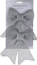 Zilveren glitter strikken 2 stuks 18 cm
