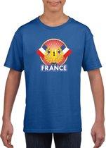 Blauw Frans kampioen t-shirt kinderen - Frankrijk supporter shirt jongens en meisjes S (122-128)