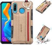 Let op type!! Voor Huawei P30 Lite doek textuur + TPU schokbestendige beschermhoes met metalen ring & houder & kaartsleuven & hangende riem (kaki)