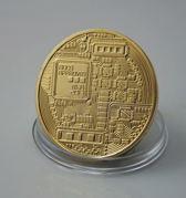 Bitcoin munt (Goudkleur) in luxe cadeauverpakking met certificaat en unieke muntcode - DD-1209