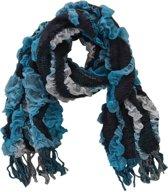 Sjaal Ruffles midden blauw