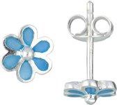 Classics&More - Zilveren Kinderoorknopjes - Blauwe Bloem