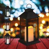 relaxdays 4x led lantaarn - vlameffect - sfeerverlichting - windlicht - zwart - 30 cm hoog