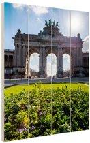 Arcade du Cinquantenaire Brussel Hout 60x80 cm - Foto print op Hout (Wanddecoratie)