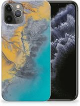 iPhone 11 Pro TPU Siliconen Hoesje Marmer Blauw Goud