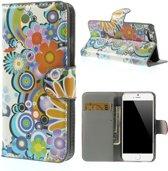 Shop4 - iPhone 6s Hoesje - Wallet Case Kleurrijke Bloemen
