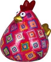 Kip Matilda spaarpot | Kip - Roze met gekleurde vierkanten | Pomme pidou