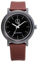 Q&Q Smile Solar 651025 horloge 100 meter 40 mm bruin/ zwart
