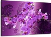 Canvas schilderij Orchidee | Paars | 140x90cm 1Luik