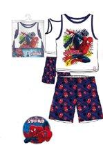 Spiderman zomersetje/shortama maat 98 blauw