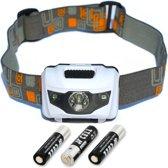 Hoofdlamp LED | Hoofdlampje Waterdicht Lichtgewicht | Inclusief AAA batterijen | Led Hoofdzaklamp WIT | Wit & Rood led licht | King Mungo Hoofdlampen KMHL005