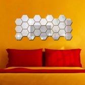 Hexagon Wand Spiegel  - 12 Stuks - 85x100x50 mm Zeshoek spiegel tegel - Decoratie voor in de woonkamer, slaapkamer, badkamer en keuken