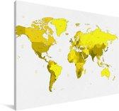 Gele wereldkaart op een witte achtergrond Canvas 140x90 cm - Foto print op Canvas schilderij (Wanddecoratie woonkamer / slaapkamer)