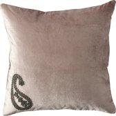 Rivièra Maison Precious Unique Paisley Velvet Pillow Cover - Sierkussenhoes - 50x50cm - Roze