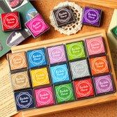 Stempelkussen set met 20 verschillende kleuren