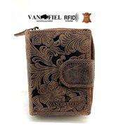 Lederen portemonnee RFID Van Fiel bruin flower
