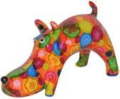 Pomme Pidou spaarpot hond Elvis - Uitvoering - Oranje met gekleurde stippen