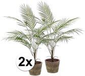 2x Groene kunst palmboom 70 cm in pot - Kunstplanten