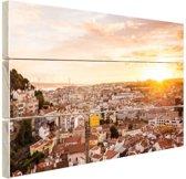 Uitzicht over Lissabon Hout 120x80 cm - Foto print op Hout (Wanddecoratie)